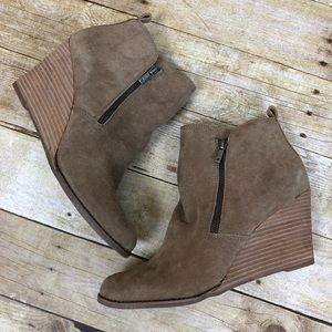 Lucky Brand Taupe Yesterr Wedge Bootie